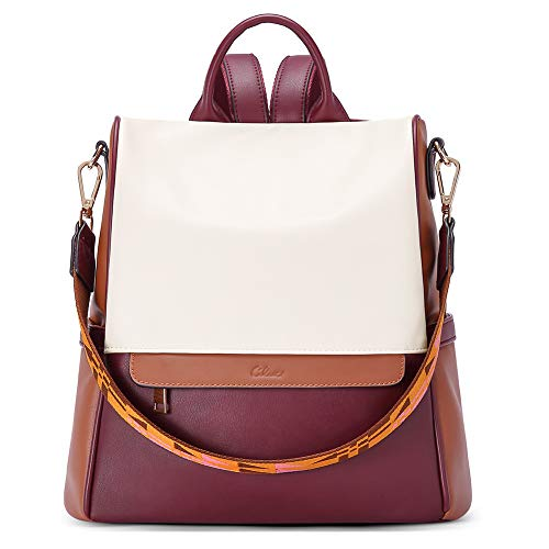 CLUCI Mochila para Mujer Cuero Diseño Moda Gran Capacidad Bolsa de Viaje Femenin Bolsa de Hombro Liso rojizo
