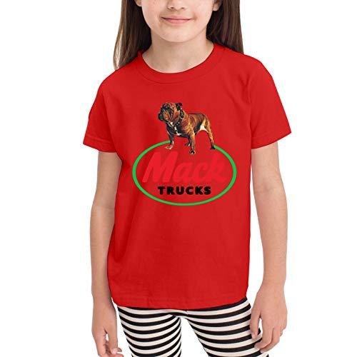The Old Bulldog Logo Mack Trucks Camisetas gráficas para niñas Adolescentes, niños y niñas, Camiseta de Manga Corta, Camisetas de algodón, Camisetas para niños, Tops 2-6t