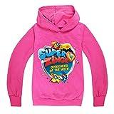 Superzings Pullover Camiseta de Manga Larga con Capucha cómoda impresión de la Manera jerséis con Capucha niños y niñas (Color : Rose red01, Size : 140)