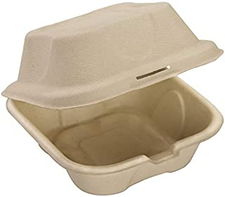 Biodegradable, Grease-Proof 6x6 Clamshell To Go Box 100pk. Disposable, Microwavable Take Out Container With Hinged Lid. Bu...