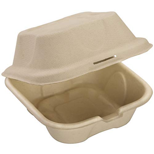 Biodegradable, Grease-Proof 6x6 Clamshell To Go Box 100pk. Disposable, Microwavable Take Out Container With Hinged Lid. Bulk Eco-Friendly Carryout Boxes Great for Parties, Restaurants and Food Trucks