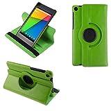 COOVY® Funda para Google ASUS Google Nexus 7 (2. Generation Model 2013) Smart 360º Grados ROTACIÓN Cover Case Protectora Soporte Auto Sueño/Estela | Color Verde