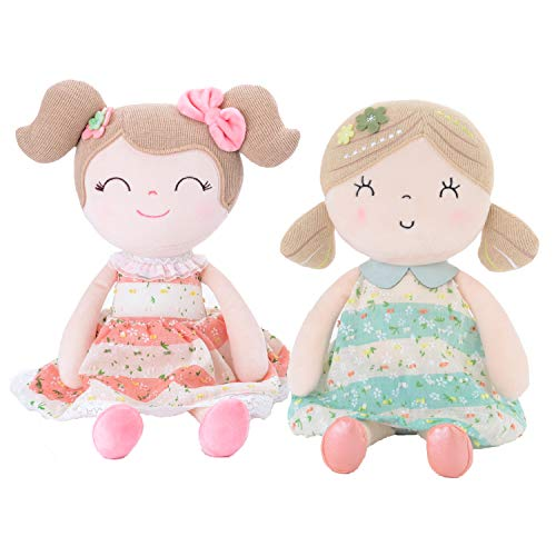 "Gloveleya Baby Doll Girl Gifts Soft First Baby Dolls for Ages 1 Year and Up 2pcs Pink+Green 16.5"" Delaware"