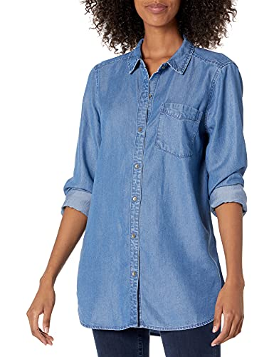 Daily Ritual Women's Relaxed Fit Tencel Long-Sleeve Button-Up Tunic, Medium Wash, X-Small