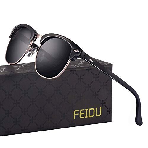 Retro Mens Sunglasses for Men - FEIDU Half Metal Polarized Sunglasses for Women FD3030 (A-black/bright, 2.04)