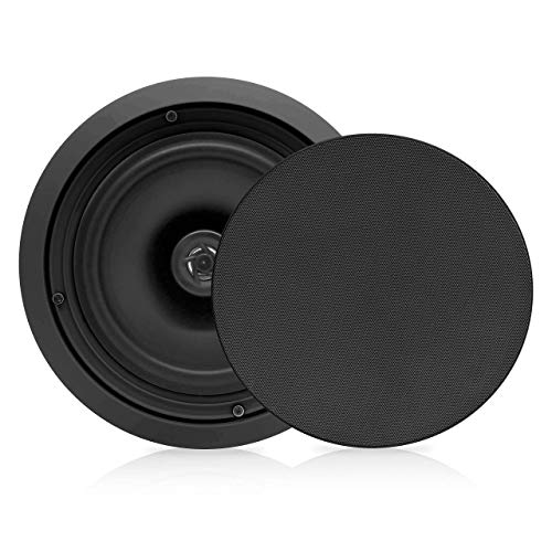 Pyle PDIC81RDBK, 8'' Ceiling Wall Mount Speakers - Pair of 2-Way Midbass Woofer Speaker 1/2'' Polymer Dome Tweeter Flush Design w/ 50Hz - 20kHz Frequency Response & 250 Watts Peak Easy Installation Black