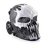 Wwman Cráneo Máscara Táctica de Cara Completa para Airsoft y Juegos de Guerra, CS, Cosplay, Halloween, con Protección para los Oídos (Fuego fatuo)