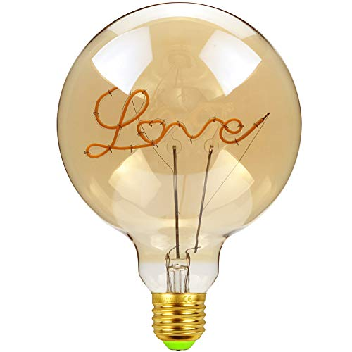 TIANFAN, lampadina vintage a LED da 4 Watt, dimmerabile, con scritta 'Love/Home', lampadina decorativa 220/240 V E27 per lampada da tavolo, Vetro, Love, E27, 4.00W 240.00V