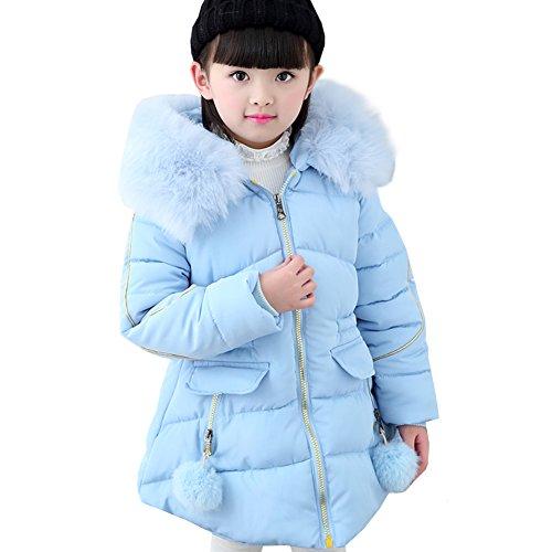 LSERVER Mädchen Dicke warme Daunenjacke Kinder Mode Winterjacke, Blau A, 152(Fabrikgröße:160)