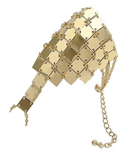 Pulsera de eslabones de color dorado, estilo correo, anillo de dedo, joyería de fiesta para mujeres y niñas