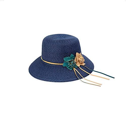 UKKD Sombrero de Paja Sombreros De Paja con Disquete Sólido De Verano para Mujeres Accesorios De Flores Damas Playa De Verano Gorras De Sol De Panama Sombrero De Estilo