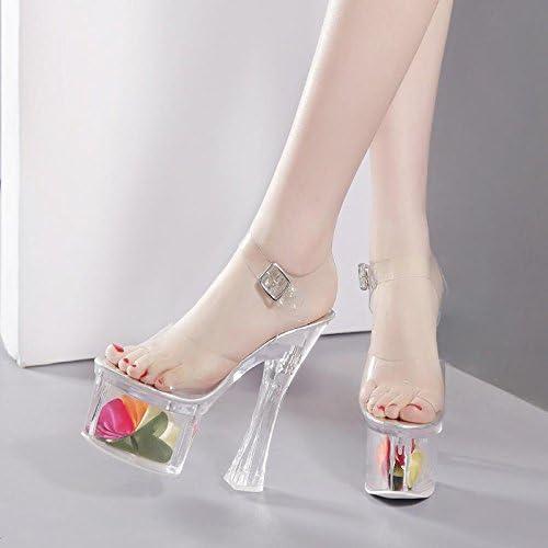 GTVERNH-Transparent D'épaisseur avec des des Talons Hauts avec Un Cristal Fleur des Sandales Les Clients 18Cm Chaussures Sandales  100% authentique