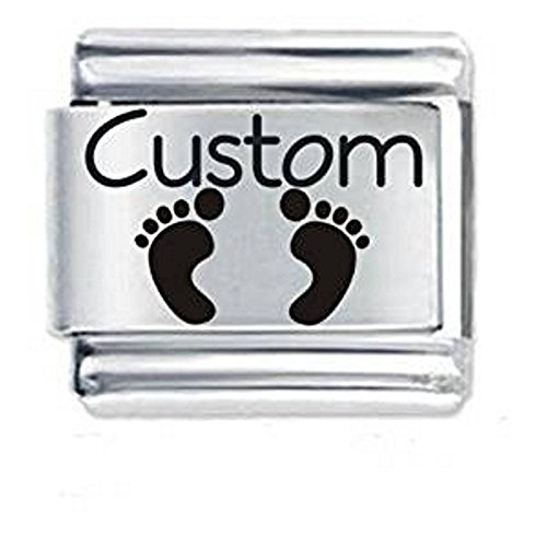 Personalised Custom Made Baby Footprints Italian Charm - fits all 9mm Italian Style Charm Bracelets
