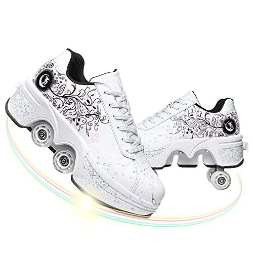 Dytxe Schuhe 4 Rollen Turnschuhe Roller Sneakers Doppelte Fahrbare Rollen Laufschuhe Sportschuhe Kinder Skateboard Junge Mädchen