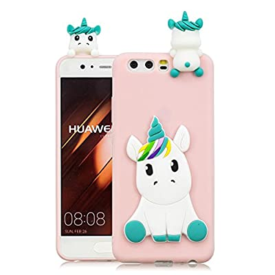 HopMore Funda Huawei P10 Silicona Motivo 3D Divertidas Unicornio Panda Bonita TPU Gel Ultrafina Slim Case Antigolpes Cover Protección Dibujo Gracioso Carcasa para Huawei P10 - Rosado