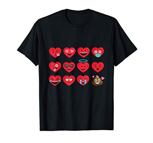 Corazón divertido Emojis Feliz día de San Valentín Regalo Camiseta