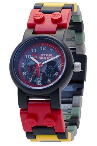 Reloj modificable infantil de Boba Fett y Darth Vader de LEGO Star Wars 8020813 con pulsera por piezas y figurita