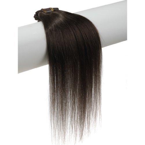 Clip en extensions de cheveux humains 100% Remy véritable soyeux droite # 2 Marron Foncé (50,8 cm 7 pièces 70 g)