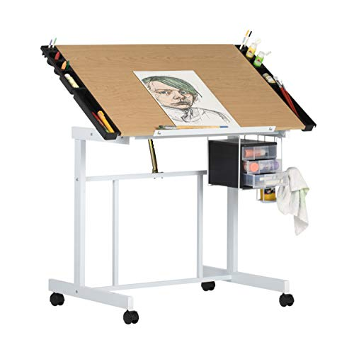 Studio Designs Deluxe Craft Station, Top Adjustable Drafting Table Craft Table Drawing Desk Hobby Table Writing Desk Studio Desk with Drawers, 36''W x 24''D, White / Maple