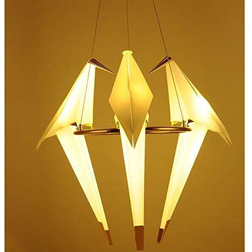 Moderno Papel Grúa Metal Vintage Araña Colgante Luz Luz Living Comedor Sala de niños LED Diseño de aves Lámpara Colgante (Body Color : 3 heads Chandelier)