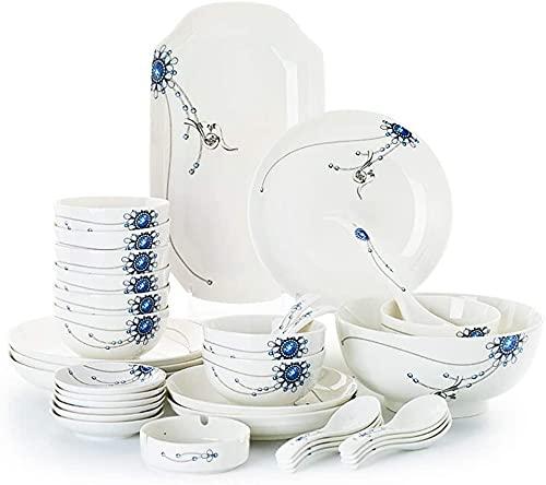 Juego de platos, Conjuntos de vajilla de porcelana de 36 piezas - Placas de cena de Jingdezhen y conjuntos de cuencos, platos de cerámica Conjuntos de platos para 6/8/10, Placas de cena de la serie de