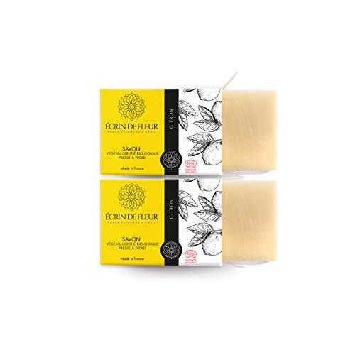 ÉCRIN DE FLEUR | Zertifizierte Bio von Ecocert | Zitronenseife | Spritzige Zitronen-Seife für Zitrus-Seifenliebhaber | in Frankreich handgemacht | Chemikalienfreie Seifenstück | Ohne Palmöl | 2 x 100g