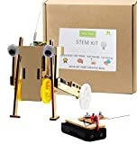 Pica Toys Wooden Wireless Remote Control Rickshaw Robot Pulling Car Creative Engineering Circuit Science STEM Building Kit with Electric Motor - Funny DIY Experiment for Kids, Teens and Adults.