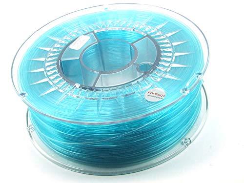POPESQ® 1 Kg x Premium Filamento 3D Impresora Pet-G 1.75mm Azul Transparente #A2511