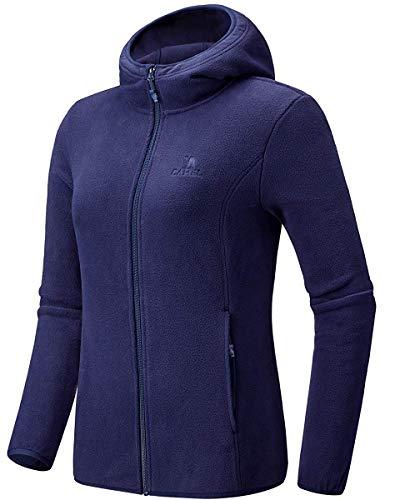 CAMEL Damen Fleecejacke mit Reißverschluss Lang Hoodie Sweatjacke Strickjacke Jacke Kapuzenpullover Outwear Fleece Jackets Ski Shirt Übergangsjacke für Sports