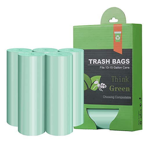 Compostable Trash Garbage bags,13-15 Gallon Tall Kitchen Trash Bags,Heavy Duty Unscented 1.18Mils 55 Liter,60 Count,Strong Thicken Rubbish Waste Can Liners for Kitchen Garden Home