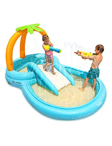 Sable Inflatable Play Center Wading Pool with Slide for Kids Children Garden Backyard 110