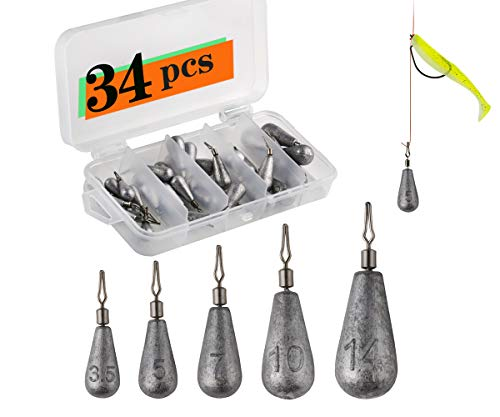 Fshing Weights Drop Shot Sinker Rig Kit 34pcs Trokar with Lead for Bass Fshing with Free Tackle Box