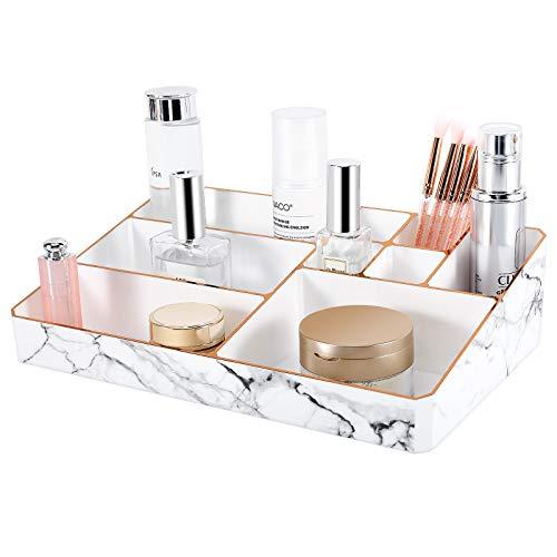 Lewondr Makeup Aufbewahrung Box, 9 Fächer Kosmetik Organizer Marmormuster Kosmetik Ständer mit verschieden Größe Schmink Aufbewahrung für Kosmetik Pinsel Lippenstifte Nagellack Stifte - Weiß