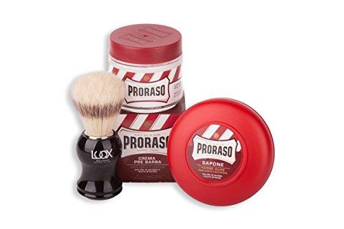 Proraso Shave Kit Rasurset Intensiv: Luqx Rasierpinsel Proraso Pre Shave Cream Proraso Rasierseife im Tiegel