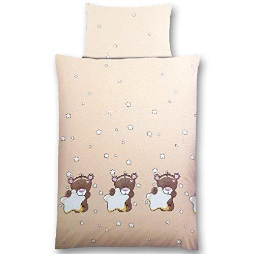 Gräfenstayn 2 piezas Juego de cama para niños con motivos de animales y cremallera integrada hecha de 100% algodón, funda nórdica de 135x100 cm y funda de almohada de 60 x 40cm (Osito & Estrellas)