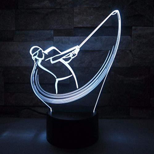 Luz de noche de ilusión 3D 7 colores Led Vision Play Sensor de golf Deporte Decoración de la habitación del hogar Escritorio Colorido Regalo creativo Control remoto
