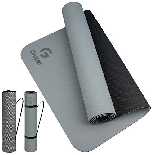 Gruper TPE Yoga Mat,Pro Yoga Mat Eco Friendly Non Slip Fitness Exercise Mat with Carrying...