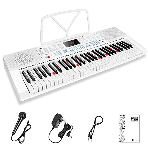 Vangoa Elektronische Klaviertastatur 61 Leucht Mini Tasten mit 3 Unterrichtsmodi, Mikrofon, 350 Töne, 350 Rhythmus, 30 Demos für Anfänger, Weiß