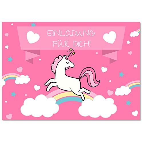 Gentle North 15 x Einhorn Einladungskarten Geburtstag Kinder - Größe A6 - Coole Einladung zum Kindergeburtstag für Mädchen und Jungen - Witzige Einladungskarte
