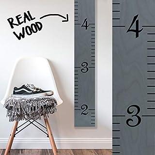 Growth Chart Art | Wooden Growth Chart Ruler for Kids [Boys + Girls] Height Ruler | Measuring Kids Height Wall Décor | Kids Ruler in Gray