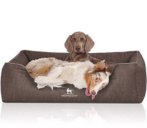 Knuffelwuff Orthopädisches Hundebett Tampa aus laser-gestepptem Kunstleder M-L 85 x 63cm Braungrau