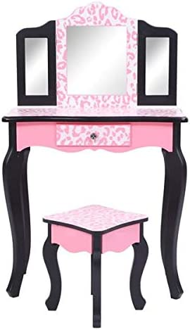 Gifts Girls Pink Vanity Set Kids Max 67% OFF Stool Table Makeup Wooden and