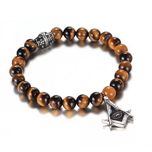 LAMUCH Fashion Masonic Freemason Tiger 's Eye Stainless Steel Buddha Beads Link Bracelet for Men