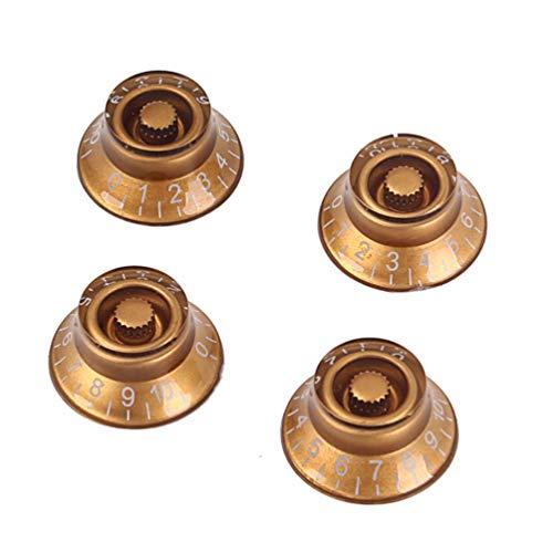 Milisten Manopola per Chitarra 4 Pezzi Tondo Volume Manopole di Controllo del Tono Pomello di Ricambio per Basso Elettrico (Oro)