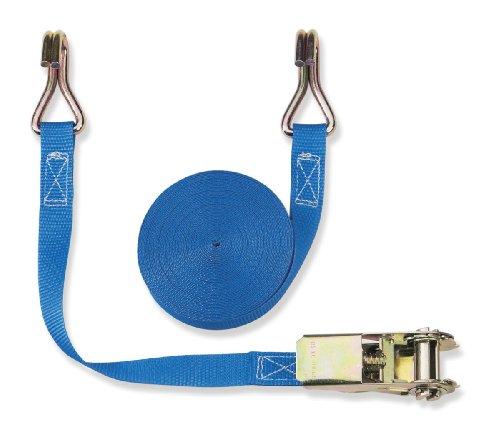 Braun spanband 800 daN, tweedelig, kleur blauw, 25 mm bandbreedte, met ratel en karabijnhaak 4 M