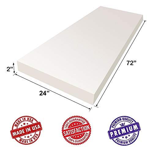 AK-Trading Upholstery Foam Cushion High Density 2 Height x 24 Width x 72 Length Home or Commercial Use Seat Replacement Foam Cushion Made in USA