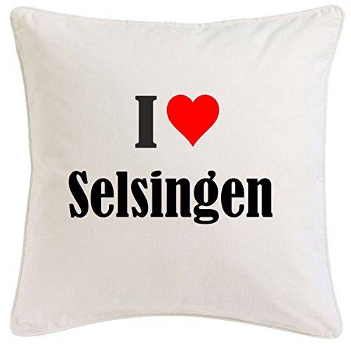 Kissenbezug I Love Selsingen 40cmx40cm aus Mikrofaser geschmackvolle Dekoration für jedes Wohnzimmer oder Schlafzimmer in Weiß mit Reißverschluss