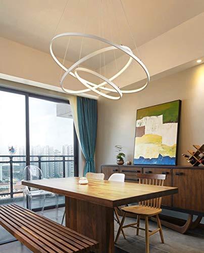 Moderne LED Esstisch Hängeleuchte, 75W 3-Ring Esszimmer Pendellampe, Runde Kronleuchter, Höhenverstellbar, Weiß Aluminium Wohnzimmer Deckenleuchte Schlafzimmer Hängelampe 20+40+60cm Kaltes Licht