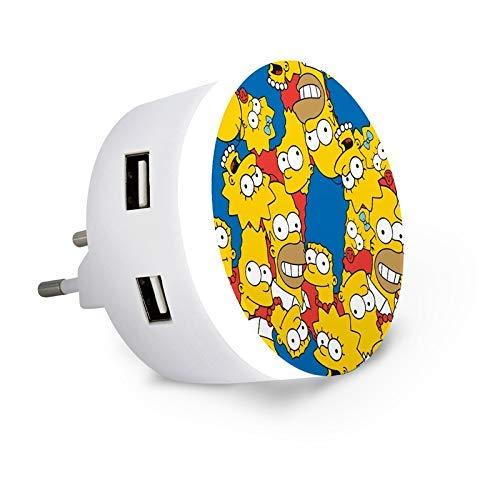 Metronic 495025 - Cargador con luz quitamiedos con Detector día/Noche, 2 Puertos USB, Compatible Smartphone y Tablet, Simpsons, Blanco/Verde