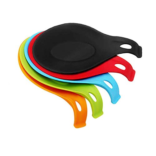 5PCS Silicone Spoon Rest, Kitchen Ladle Spoon Holder, Soup Spoon Shape Rest Cooking Spoon Stand Utensil Rest Dish, Kitchen Spoon Rest Heat Resistant Spoon Holder (Colorful)